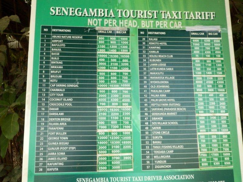 Taxi Preise Senegambia Beach Hotel