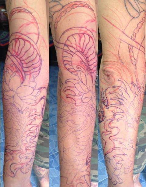 Bamboo-Tattoo-Vorarbeit-komplett