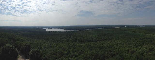 Ausblick vom Müggelturm nach Südosten Panoramabild klein