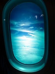 abgedunkeltes Fenster in der Boing 787-8 Dreamliner