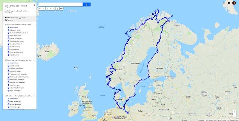 Reiseroute-Norkap
